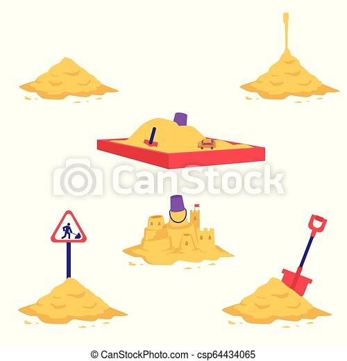Sand heap vector illustration set - various piles of yellow dry powder. - csp64434065