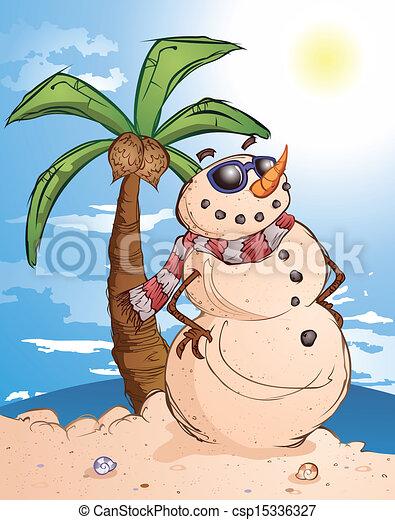 Sand Snowman Cartoon Character - csp15336327