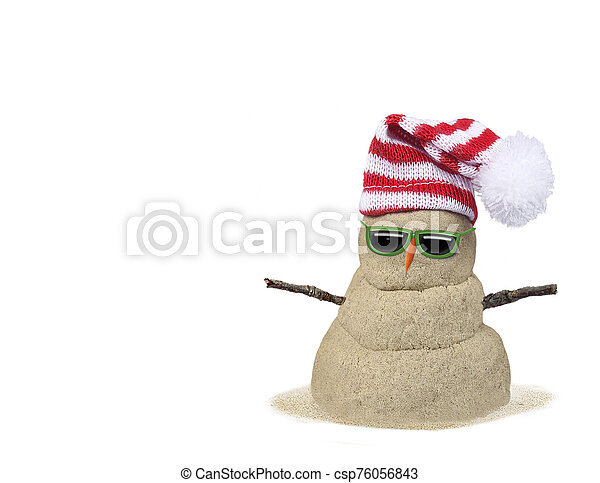 sand snowman with hat on white - csp76056843