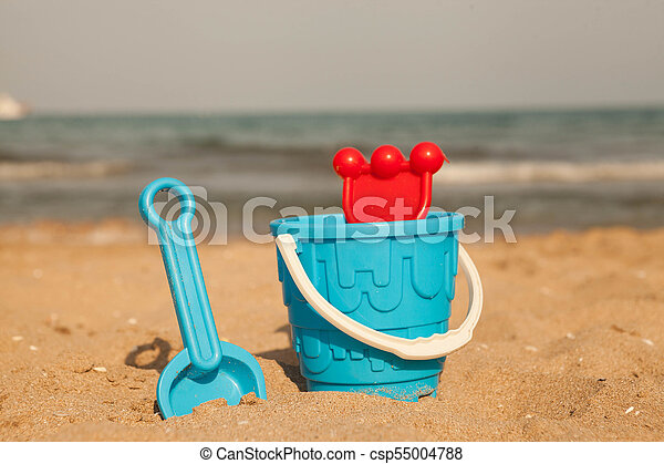 Sand toys on the beach of Lake . - csp55004788