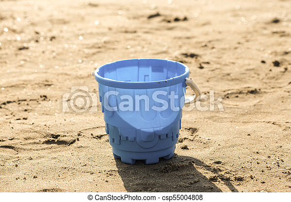 Sand toys on the beach of Lake . - csp55004808