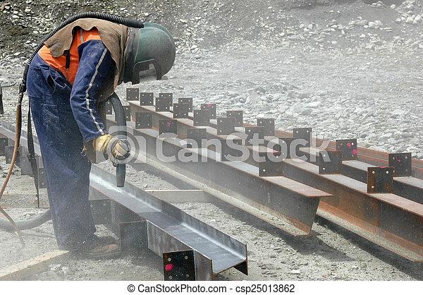 sandblaster at work - csp25013862