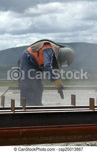 sandblaster at work - csp25013867