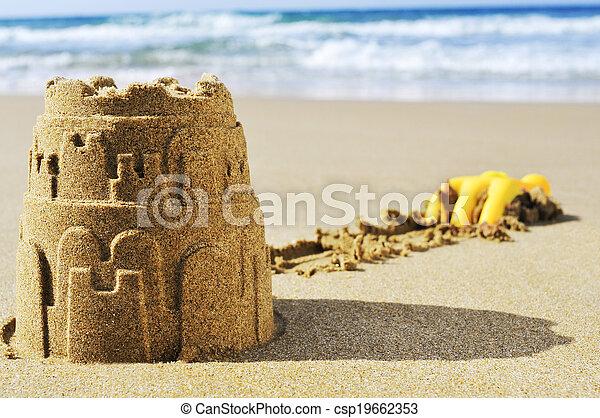 sandcastle on the sand of a beach - csp19662353