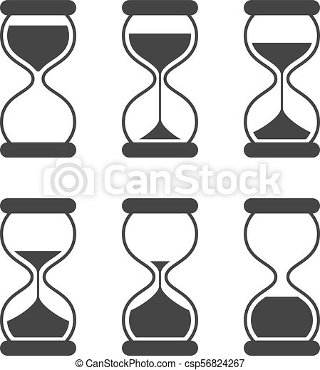 Sands of time, hourglass vector isolated symbols. old sand ...