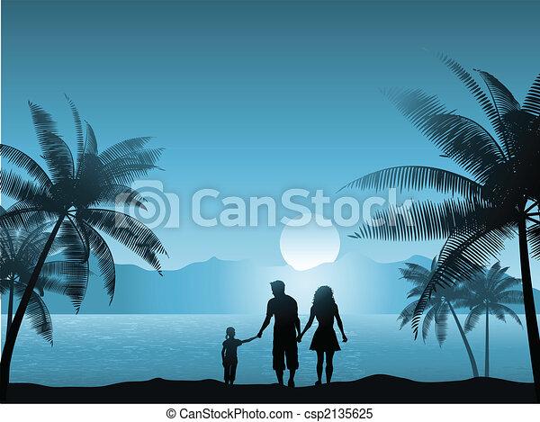 sandstrand, familie - csp2135625