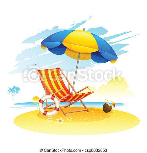 Liegestuhl mit sonnenschirm clipart  Sandstrand, fernsehsessel, meer. Schirm, kleingarten,... Vektoren ...