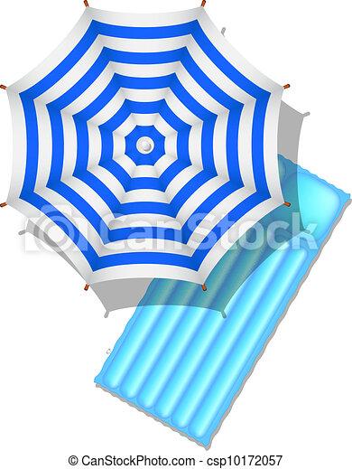 sandstrand luft schirm matratze blaues schirm luft hintergrund wei es matratze. Black Bedroom Furniture Sets. Home Design Ideas