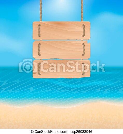 Blankes Holzzeichen am Strand, natürliches Meer - csp26033046