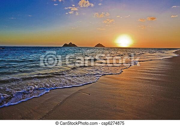 Pacific Sonnenaufgang am Lanikai Beach, hawaii - csp6274875