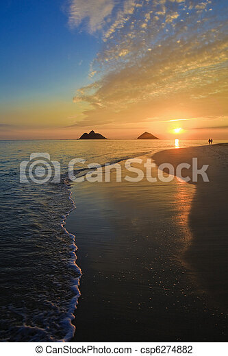 sandstrand, sonnenaufgang, lanikai, hawaii, pazifik - csp6274882