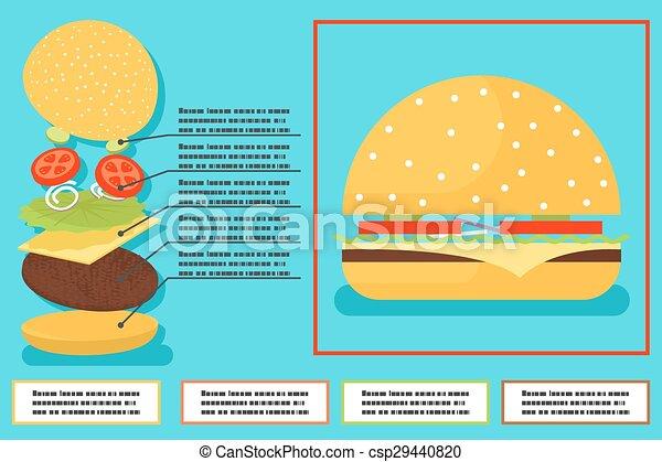 Sandwich burger hamburger ingredients structure setup food infographics icon symbol vector illustration - csp29440820