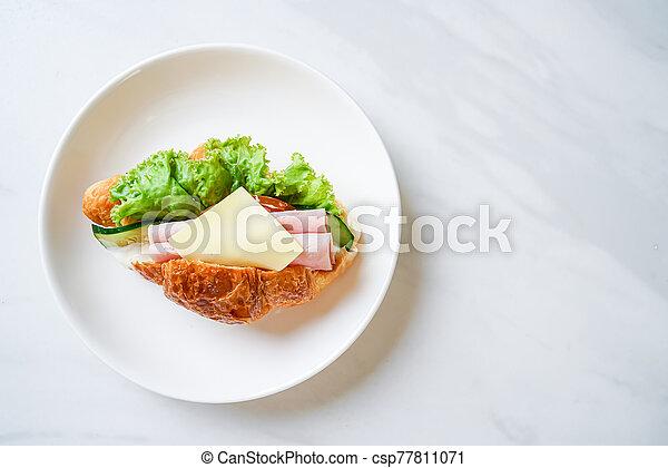 sandwich croissant ham cheese - csp77811071