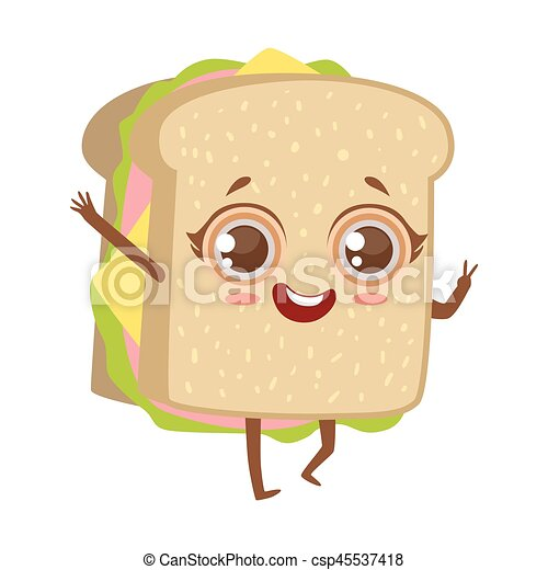 sandwich cute anime humanized cartoon food character emoji vector illustration funny product with arms and legs childish https www canstockphoto com sandwich cute anime humanized cartoon 45537418 html
