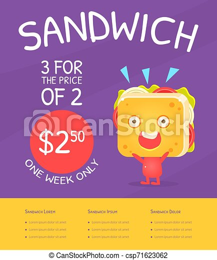Sandwich Gift Voucher Template Fast Food Discount Coupon With Funny Sandwich Cartoon Character Vector Illustration Web