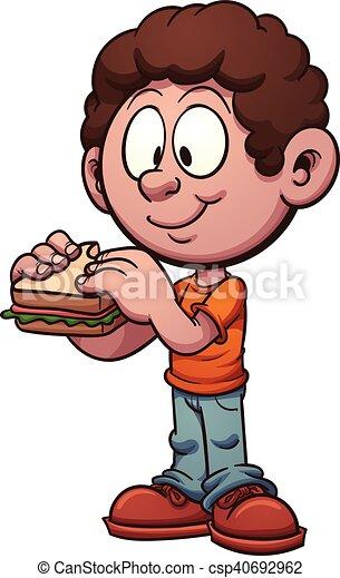 sandwich, manger, gosse - csp40692962