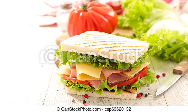 sandwich toast with salad, cheese and ham - csp63620132