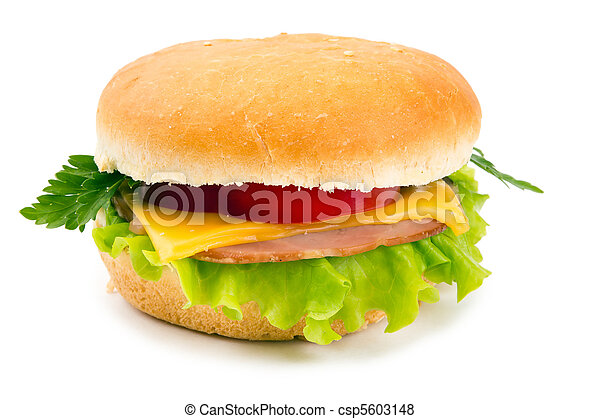 Sandwich with a ham, paprika and cheese - csp5603148