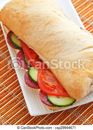 Sandwich with cheese and ham - csp29944671
