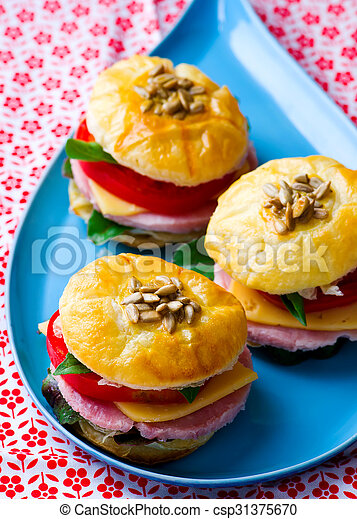 sandwich with cheese and ham - csp31375670