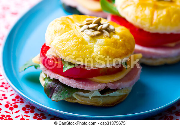 sandwich with cheese and ham - csp31375675