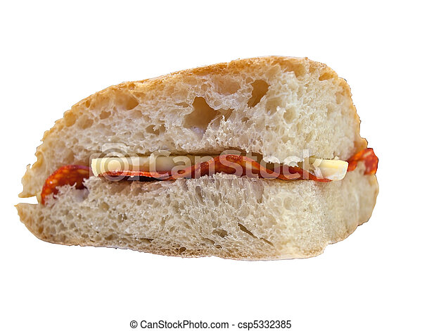 Sandwich with cheese and ham - csp5332385