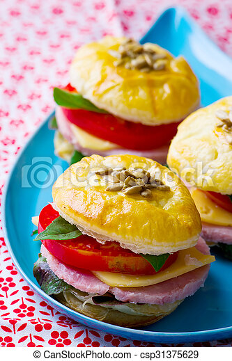 sandwich with cheese and ham - csp31375629