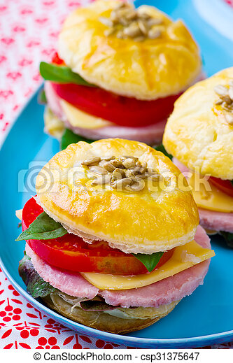 sandwich with cheese and ham - csp31375647