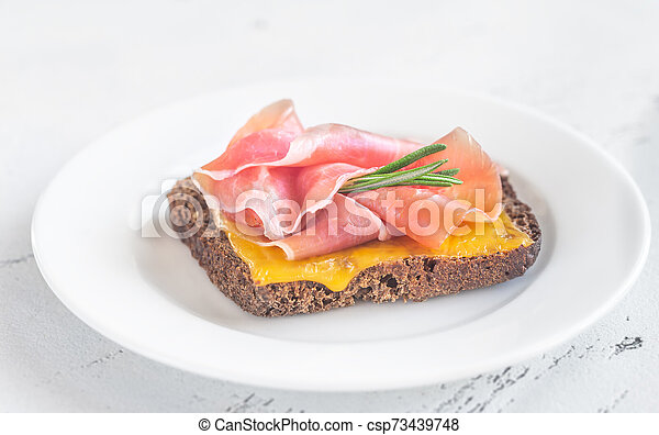 Sandwich with cheese and ham - csp73439748