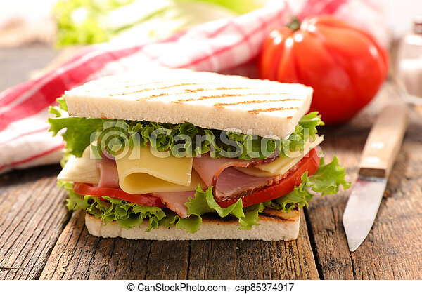 sandwich with cheese, ham and tomato - csp85374917