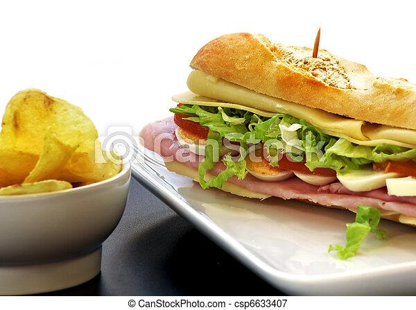 sandwich with egg ham cheese tomato - csp6633407