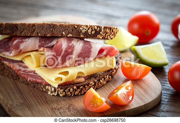 Sandwich with ham and cheese - csp26698750