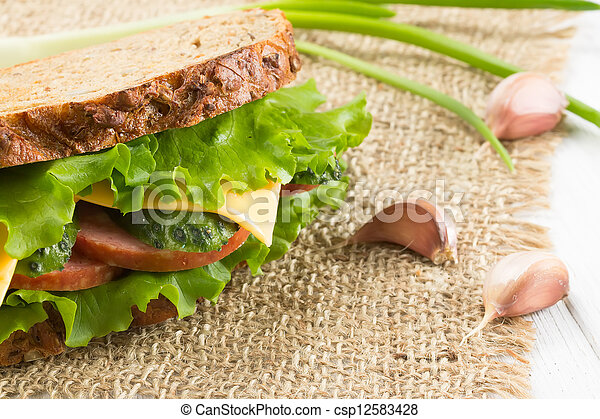 Sandwich with ham and cheese - csp12583428