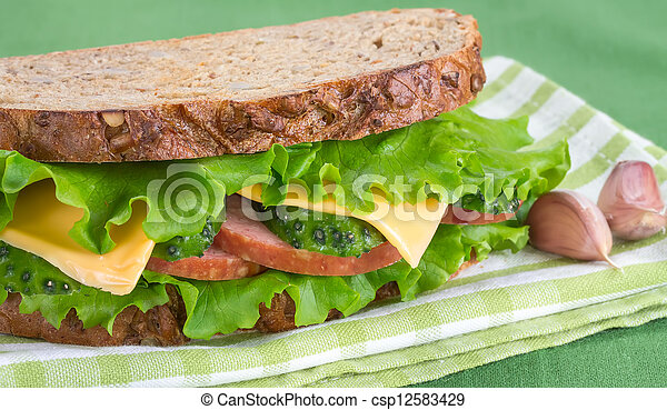 Sandwich with ham and cheese - csp12583429