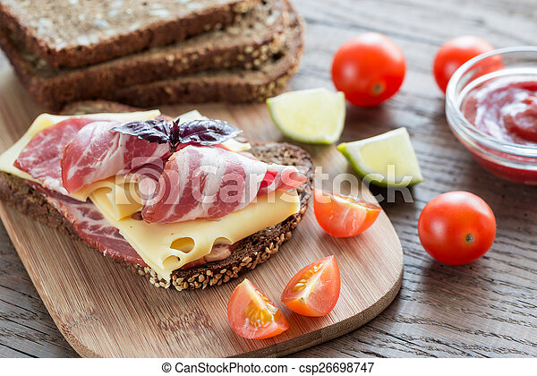 Sandwich with ham and cheese - csp26698747