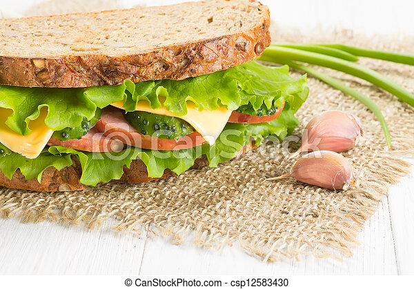 Sandwich with ham and cheese - csp12583430