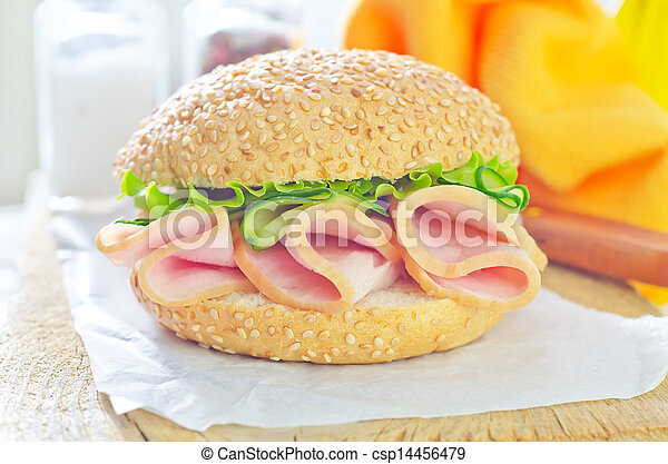 sandwich with ham and cucumber - csp14456479