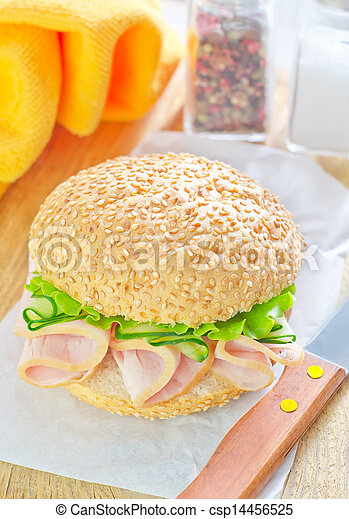 sandwich with ham and cucumber - csp14456525