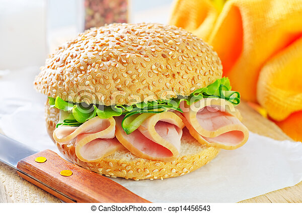 sandwich with ham and cucumber - csp14456543