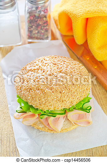 sandwich with ham and cucumber - csp14456506