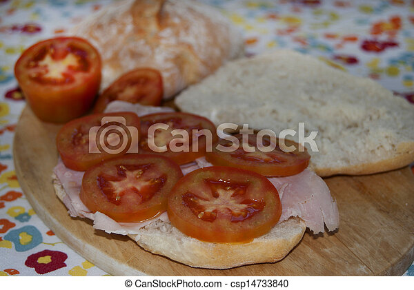 sandwich with ham andtomatoes - csp14733840