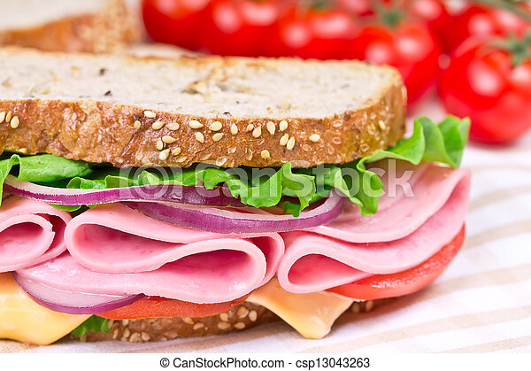 sandwich with ham, cheese and tomato - csp13043263