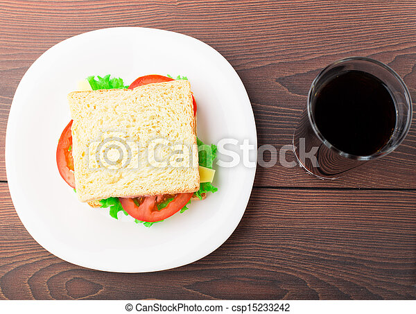 Sandwich with ham, cheese and tomato - csp15233242