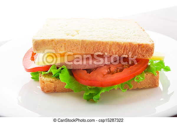 Sandwich with ham, cheese and tomato - csp15287322