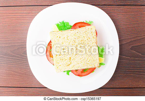 Sandwich with ham, cheese and tomato - csp15365197