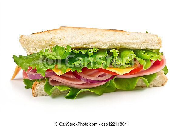 sandwich with ham, cheese and tomato - csp12211804