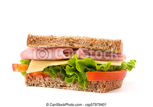 Sandwich with ham, cheese and vegetables isolated on white background - csp57979401