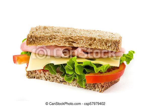 Sandwich with ham, cheese and vegetables isolated on white background - csp57979402