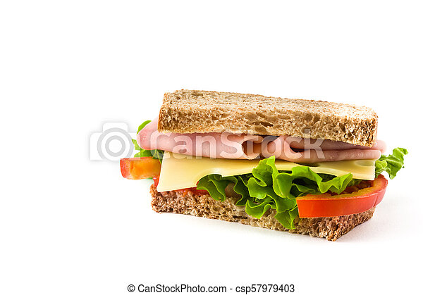 Sandwich with ham, cheese and vegetables isolated on white background - csp57979403