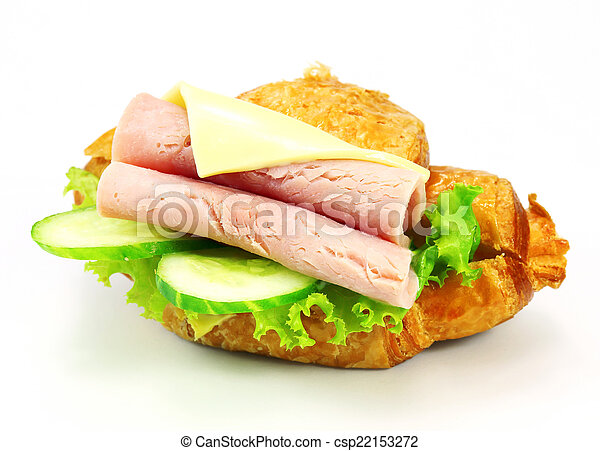sandwich with ham, cheese on white background - csp22153272